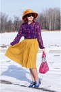 Mustard-wool-feathers-farbella-hat-hot-pink-nine-west-bag