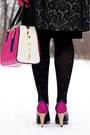 Black-brocade-coat-black-ice-cream-diy-hat-hot-pink-leather-purse