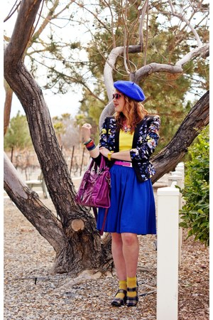 blue wool beret hat - magenta leather bag - hot pink leather belt