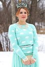 Aquamarine-forever-21-sweater-aquamarine-crown-vintage-hat