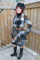 black Fluevog boots - brown plaid wrap lady dutch coat