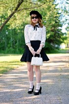 white Forever 21 blouse - black vintage hat - white wicker vintage purse
