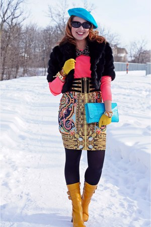 yellow scarf print Forever 21 skirt - mustard leather Fluevog boots