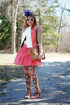 coral lace Forever 21 skirt - camel color blocked bcbg max azria jacket
