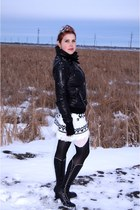 white wool Jessica Simpson skirt - black Fluevog boots - black danier jacket