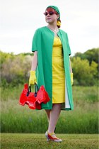 chartreuse vintage coat - yellow calvin klein dress - red Amliya bag