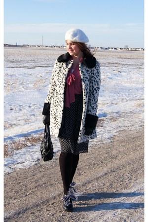 black Fluevog heels - ivory Topshop coat - black polka dots Nygard skirt