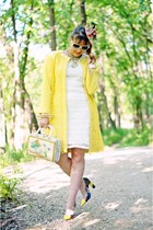 yellow lace knit rachel roy coat - white crochet lace Forever 21 dress