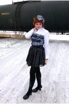 black sequined tulle Forever 21 skirt - gray lace bow le chateau hat