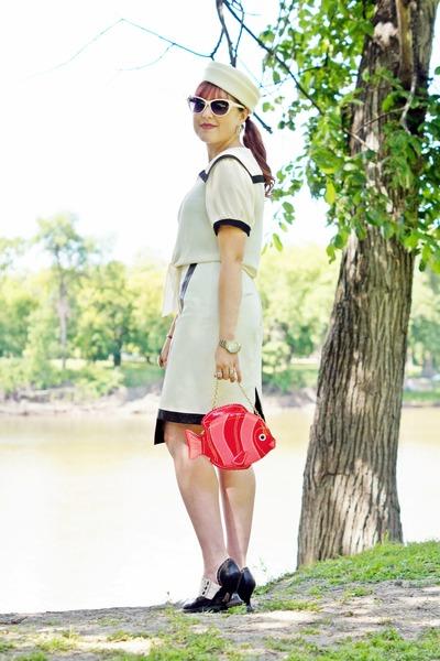 ivory sailor vintage hat - salmon fish Aldo bag - ivory leather danier skirt