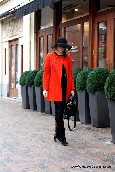 BCBG hat - rose gold boots - Zara coat - Koral jeans - kate spade purse