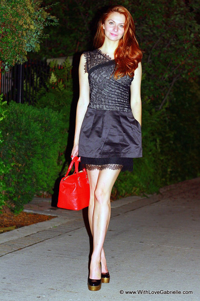 lace cocktail BCBG dress - kate spade bag - Yves Saint Laurent heels