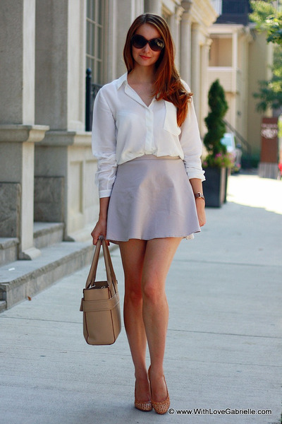 Club Monaco skirt - kate spade bag - J Crew heels - Club Monaco blouse