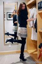 Manolo Blahnik boots - Julie & Jack sweater - Mango skirt - Secret stockings