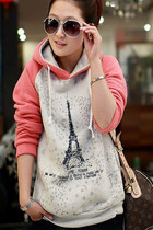 Paris Eiffel Tower Print Pink Hoodies