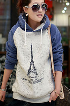Paris Eiffel Tower Print Blue Hoodies