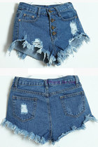 High Waist Ripped Jeans Denim Shorts - Dark Blue