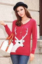 Long Horn Deer Head Print Jumper