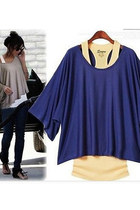 Batwing Sleeves Loose Blouse T-shirt & Tank Vest 2pcs Set - Dark Blue