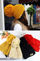 Pom Pom Bobble Beanie Knit Hat with Buttons