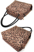 Leopard Studded Chain Weaved Straps Shoulder Bag