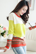 Color-blocked Bowknot & Heart Yellow Sweater