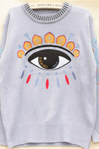 Chic Big Eye Embroidery Blue Violet Sweater
