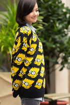 Black/Yellow Bart Simpson Pattern Sweater