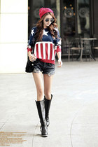 Vertical Stripes & Stars Bat-wing Sleeves Sweater