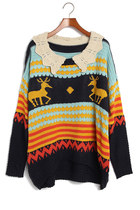 Deer & Stripes Lovely Collar Navy Sweater