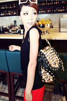 Buttons Embellished Beading Tassels Black Backpack