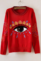 Chic Big Eye Embroidery Red Sweater