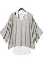 Batwing Sleeves Loose Blouse T-shirt & Tank Vest 2pcs Set - Light Gray