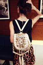 Buttons Embellished Beading Tassels Beige Backpack