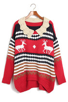 Deer & Stripes Lovely Collar Red Sweater