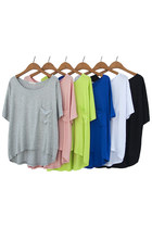 Draped Pocket 1/2 Sleeves High Low Hem Loose T-shirt