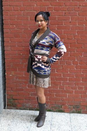 tribal Forever 21 sweater - brown Macys boots - snakeskin H&M dress