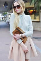 neutral Zara skirt - brown Mango sunglasses - light blue Zara blouse