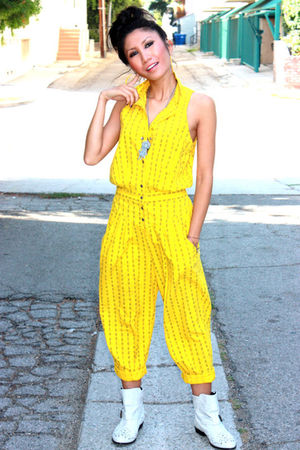 yellow vintage jumper - white Topshop boots - yellow Kenneth Jay Lane earrings -