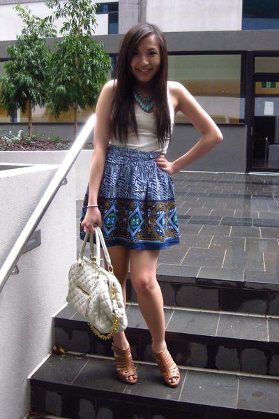 blue Forever 21 necklace - beige Forever 21 top - blue Forever 21 skirt - beige