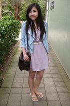 purple Forever 21 dress - blue bardot jacket - brown Forever 21 bag