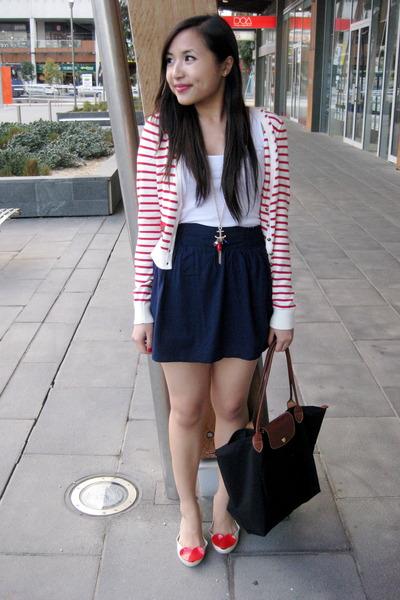 red Forever 21 cardigan - red heart shaped bangkok shoes - blue Forever 21 skirt