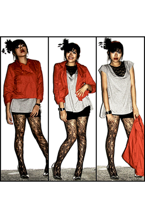 red Bayo jacket - silver Apple & Eve shirt - black gifted shorts - gray Leg Love