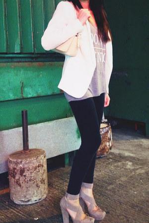 white white blazer H&M blazer - ivory shoulder bag Bally bag