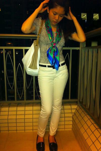 aquamarine floral print scarf - dark khaki Furla bag - white Zara pants