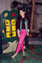 green scarf - black H&M blazer - hot pink H&M pants