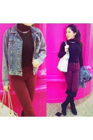black turtle neck Primark top - navy denim jacket Urban Outfitters coat