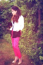white monochrome H&M blazer - navy cami Primark top - hot pink chinos H&M pants