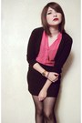 Black-cotton-cardigan-black-skirt-hot-pink-shiffon-blouse-gold-casio-watch