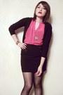 Hot-pink-shiffon-blouse-black-cotton-cardigan-black-skirt-gold-casio-watch